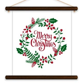 Merry Christmas Wreath Printed Canvas Banner