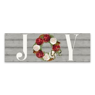 """JOY Winter Blooms Panel"" Printed Canvas - 36W x 12H x 1.25D - Multi-color"