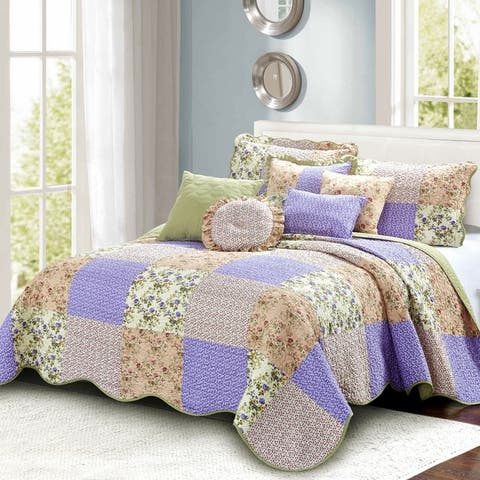 Serenta 8 Piece Quilted Patchwork Bedspread Set
