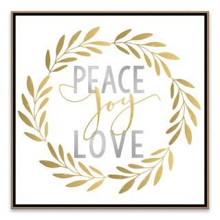 """Peace Joy Love"" Framed Embellished Canvas - 20W x 20H x 2.38D - Multi-color"