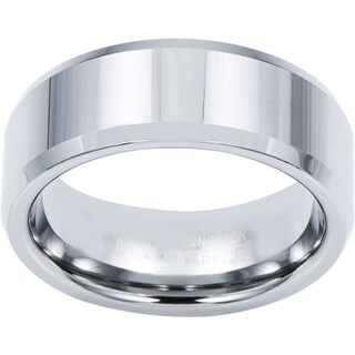 Men's Tungsten Carbide Beveled-edge Band (8 mm) (Option: 7.5)