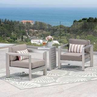 Aviara Outdoor Aluminum Club Chairs with Side Table by Christopher Knight Home