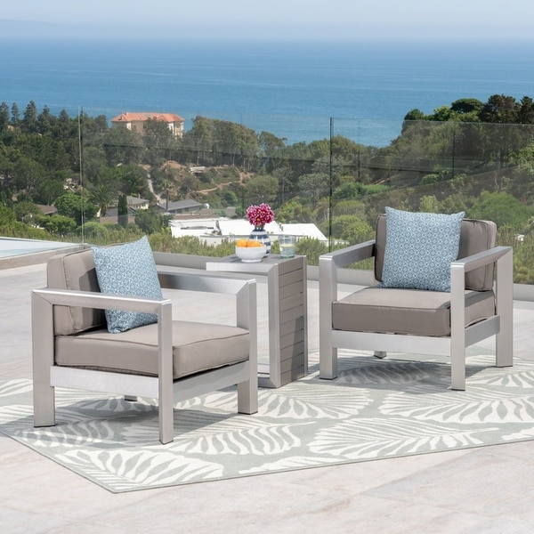 Aviara Outdoor Aluminum Club Chairs With Faux Wood Topped Side Table By Christopher Knight Home