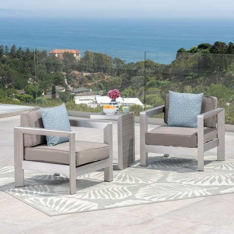 Aviara Outdoor Aluminum Club Chairs with Faux Wood-Topped Side Table by Christopher Knight Home