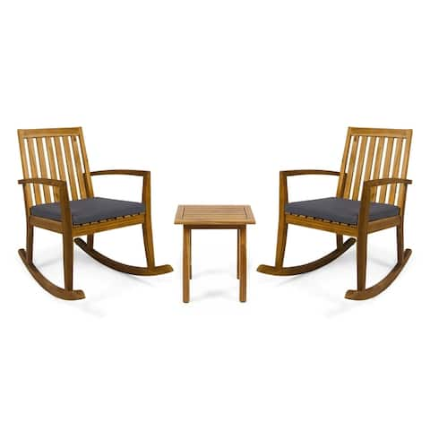 Montrose Outdoor Acacia Wood Rocking Chairs with Accent Table by Christopher Knight Home