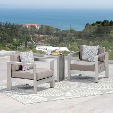 Aviara Outdoor Aluminum Club Chairs with Wicker-Topped Side Table by Christopher Knight Home
