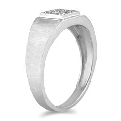 Marquee Jewels 10k White Gold 1/10ct TDW Diamond Men's Ring - Thumbnail 1