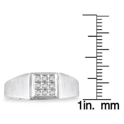 Marquee Jewels 10k White Gold 1/10ct TDW Diamond Men's Ring - Thumbnail 2
