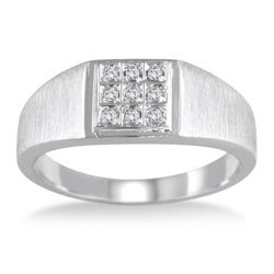 Marquee Jewels 10k White Gold 1/10ct TDW Diamond Men's Ring