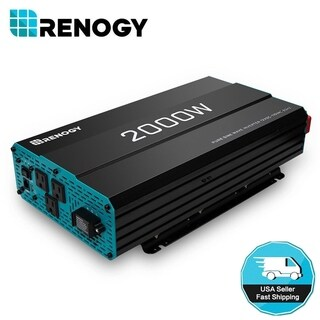 Renogy 2000W Watt Pure Sine Wave Solar Inverter 12V Volt Battery Power Converter - Black