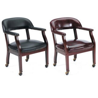 Boss Wood/Vinyl Wheeled Captain's Guest Armchair