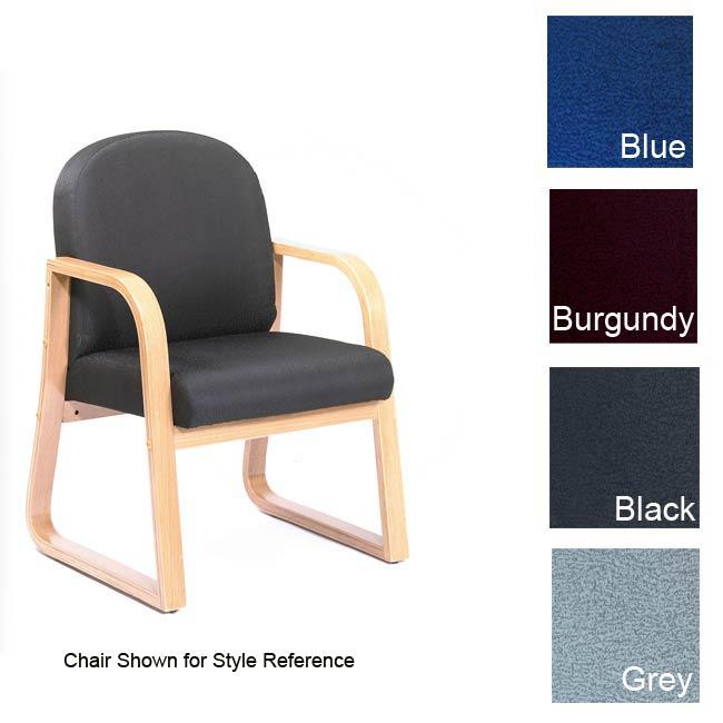 Boss Sled Base Oak Wood Reception Chair