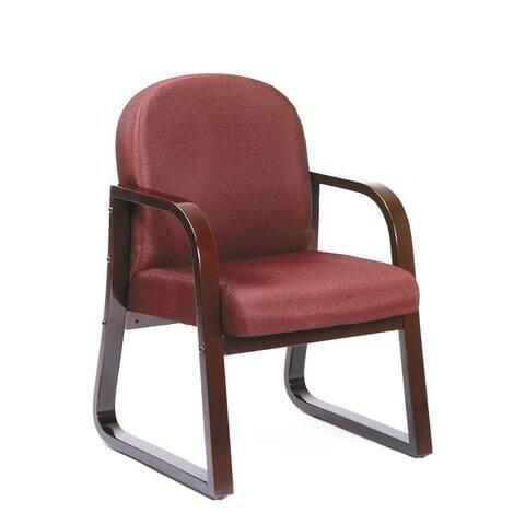 Boss Sled Base Mahogany Wood Reception Chair