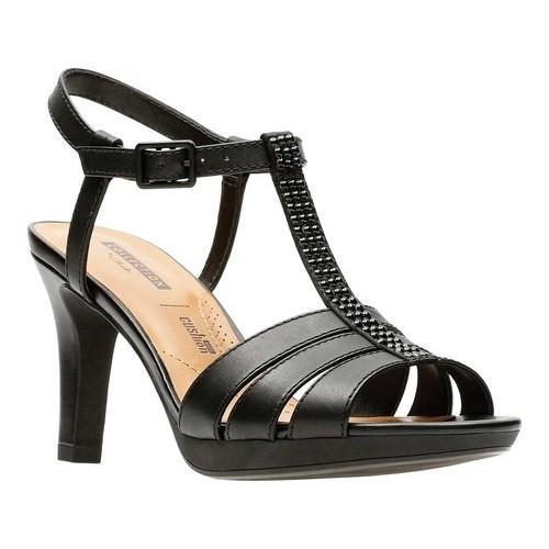 Shop Women s Clarks Adriel Tevis Heeled Sandal Black Textile - Free  Shipping Today - Overstock - 20702423 a19f236208