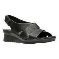 Women's Clarks Caddell Petal Strappy Sandal Black Synthetic Nubuck