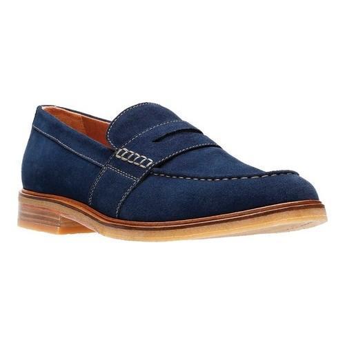 Men's Clarks Clarkdale Flow Penny Loafer, Size: 8 M, Navy Suede