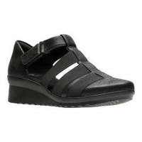 Women's Clarks Caddell Shine Strappy Sandal Black Synthetic Nubuck