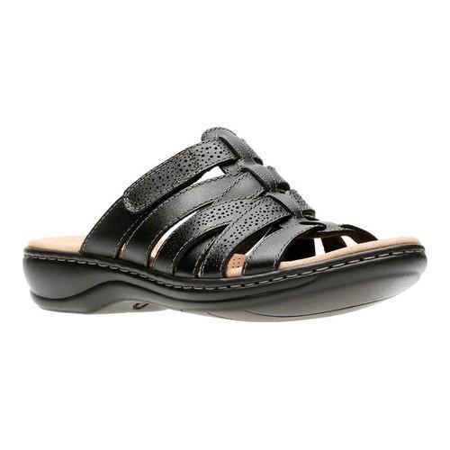 28a4fc183cb9 Shop Women s Clarks Leisa Field Slide Black Full Grain Leather ...