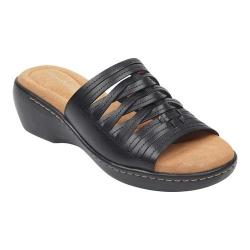 Women's Easy Spirit Daisy Heeled Slide Black Leather