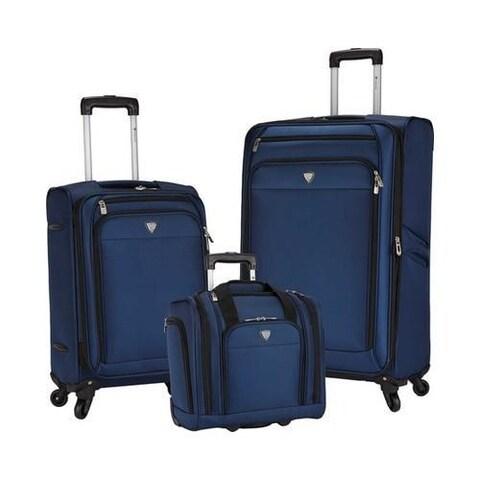 Travelers Club Monterey 3-Piece Softside Luggage Set Navy