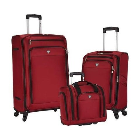 Travelers Club Monterey 3-Piece Softside Luggage Set Red