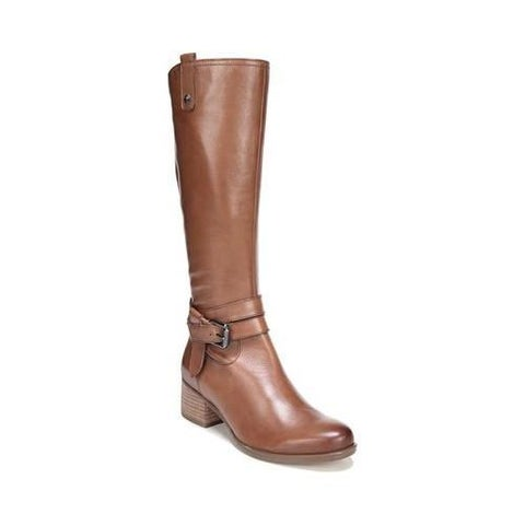 Women's Naturalizer Dev Wide Calf Riding Boot Saddle Tan Leather