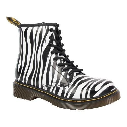 d3d49ea31ae43 Shop Children's Dr. Martens Delaney 8 Eye Side Zip Boot - Youth Black/White  Zebra Backhand Leather - Free Shipping Today - Overstock - 20746868