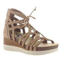 Women's OTBT Escapade Gladiator Wedge Warm Pink Leather