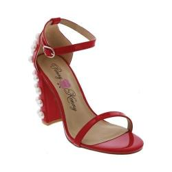 Women's Penny Loves Kenny Ruche Ankle Strap Sandal Red Patent