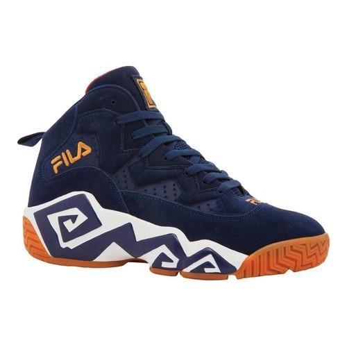 Shop Men s Fila MB Basketball Shoe FILA Navy White Metallic Gold - Free  Shipping Today - Overstock - 20691987 242bb8e996410