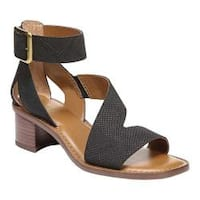 Women's Franco Sarto Lorelia Ankle Strap Sandal Black Kaa Leather