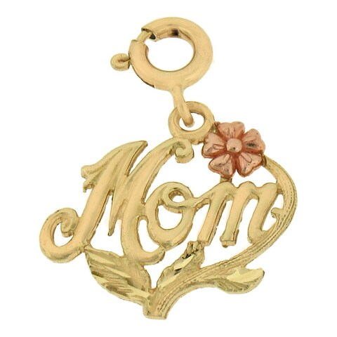 14k Two-tone Gold Mom Charm