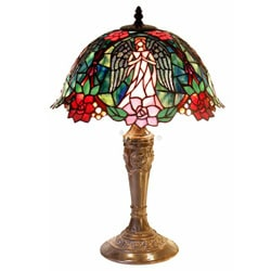 Warehouse Of Tiffany Tiffany Style Glass/Copper Angel Table Lamp