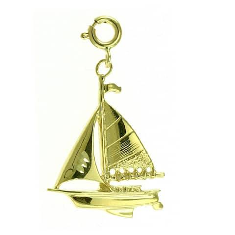 14k Yellow Gold Spring-ring Sailboat Charm