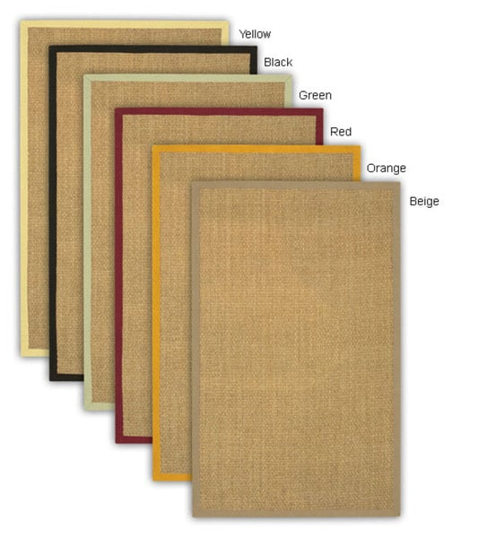 Artist's Loom Hand-woven Contemporary Border Natural Eco-friendly Sisal Rug (8' Square) - 8' x 8'