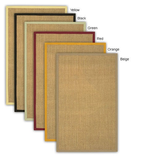 Artist's Loom Hand-woven Contemporary Border Natural Eco-friendly Sisal Rug (8' Square)