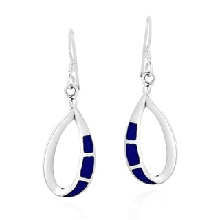 Link to Handmade Cute Open Teardrop Sterling Silver & Simulated Blue Lapis Inlay Dangle Earrings (Thailand) Similar Items in Earrings