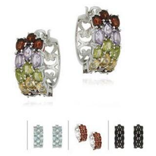 Glitzy Rocks Sterling Silver 10.2 CTW Gemstone 3-tier Hoop Earrings