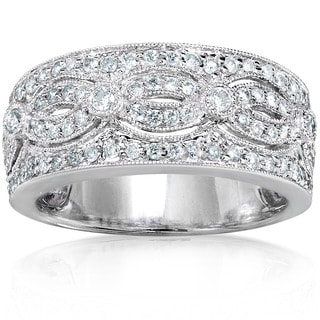 Annello by Kobelli 14k White Gold 1/2ct TDW Vintage Pave Diamond Anniversary Band (H-I, I