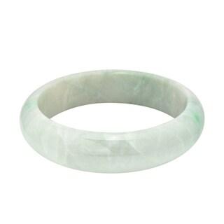 Handmade Genuine Natural Jadeite Jade Lucky Rounded Bangle Bracelet (Thailand)