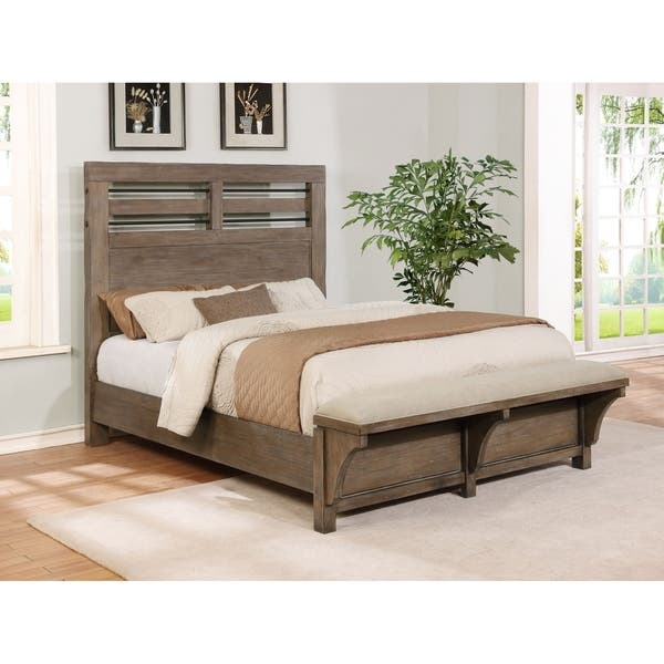 Shop Round Rock Rustic King Panel Bed With Bench Footboard Overstock 24458543