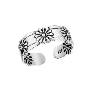 Handmade Flower of Loyalty Daisy Arrangement Sterling Silver Toe or Pinky Ring (Thailand)