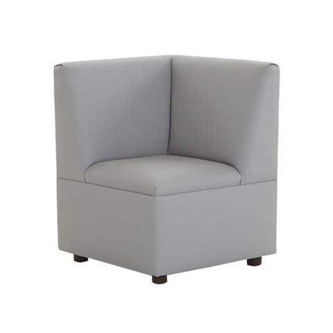 BrandNew World Modern Casual Enviro Child Polyurethane Upholstery Cozy Corner Chair - Gray