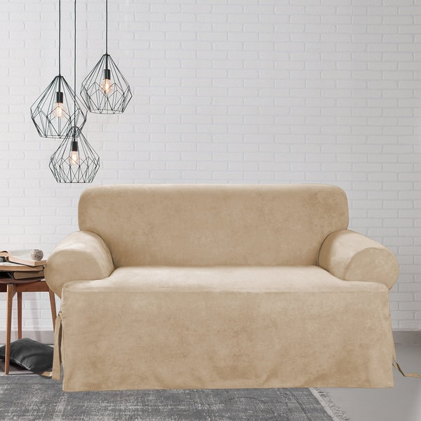 Shop Sure Fit Smooth Suede T Cushion Sofa Slipcover Free Shipping