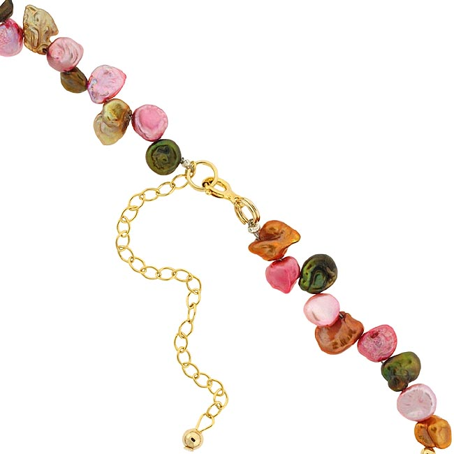 Glitzy Rocks Gold over Silver Freshwater Pearl 16-inch Necklace (6-10 mm) - Thumbnail 1