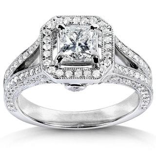 Annello by Kobelli 14k White Gold 1 1/3ct TDW Diamond Princess Cut Halo Wedding Ring