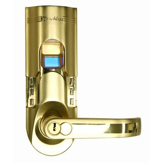 Gold Finish Left Handled Fingerprint Door Lock