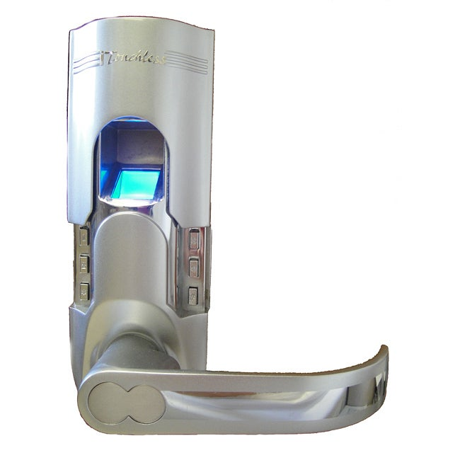 silver finish fingerprint door lock right handled