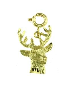 14k Yellow Gold Deerhead Charm