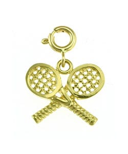 14k Yellow Gold Tennis Racquets Charm